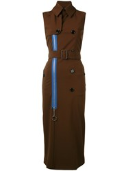 Givenchy Long Trench Waist Coat Women Silk Polyamide Spandex Elastane Viscose 38 Brown