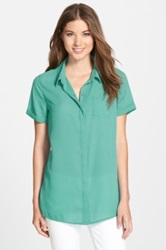 Halogen Short Sleeve Tunic Regular And Petite Blue