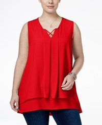 Monteau Trendy Plus Size Tiered Top Bright Red