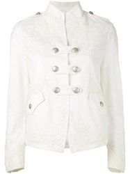 Ermanno Scervino Fitted Jacket Women Cotton 44 White