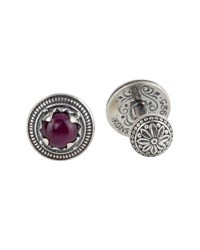 Konstantino Round Sterling Silver Cuff Links With Ruby Root