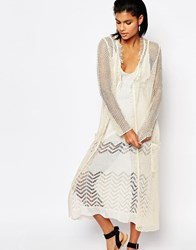 Moon River Long Knitted Cardigan With Raw Trim Natural Cream