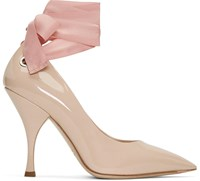 Miu Miu Beige Grommet And Ribbon Heels