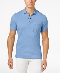 Inc International Concepts Men's Snap Cotton Polo Only At Macy's Pale Ink Blue