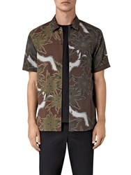 Allsaints Zapata Floral Short Sleeve Shirt Brown