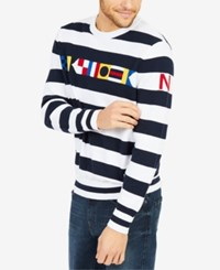 Nautica Men's Signal Stripe Sweater Bright White