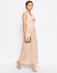 Oasis Premium Lace Cowl Neck Maxi Nude Pink