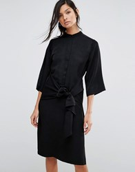 Neon Rose Shirt Dress With Tie Front Black