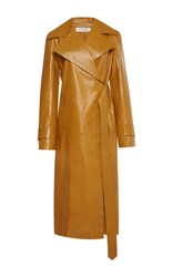 Nina Ricci Paper Leather Trench Coat Brown