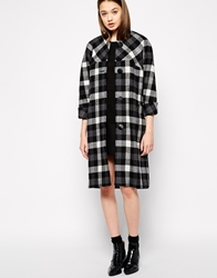Ymc Collarless Checked Coat With Cropped Sleeves Grey