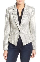 Women's Halogen Textured One Button Blazer Ivory Black Windowpane