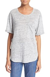 Women's Derek Lam 10 Crosby Lace Up Linen Pocket Tee