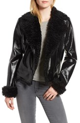 Kensie Faux Patent Leather With Faux Shearling Trim Moto Jacket Black