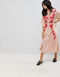 Hazel Embroidered Front Maxi Dress Pink