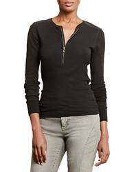 Lauren Ralph Lauren Cotton Half Zip Long Sleeve Shirt Black