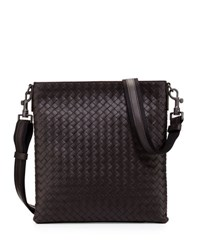 Bottega Veneta Men's Woven Zip Top Messenger Bag Nero Black Brown