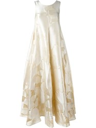 Stefano Mortari Leaf Print Gown Nude And Neutrals