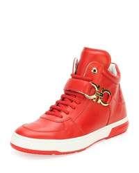 Salvatore Ferragamo Nayon High Top Sneaker With Side Gancini Red