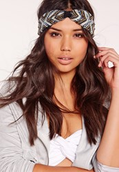 Missguided Beaded Boho Head Band Blue Blue