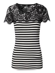 Jane Norman Lace Striped T Shirt Black White