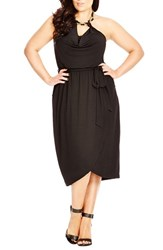 Plus Size Women's City Chic 'Knotted Cowl' Embellished Halter Dress