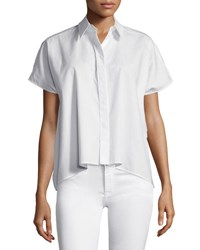 Cedric Charlier Short Sleeve Spread Collar Top White Bianco