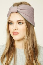 Forever 21 Bow Front Knit Headwrap Pink Grey