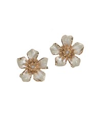 Anne Klein Enamel Flower Stud Earrings White