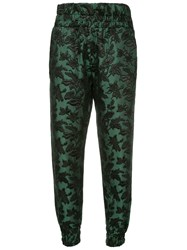 Mother Of Pearl Cropped Foliage Patterned Trousers Green