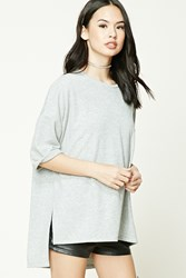 Forever 21 Heathered Knit High Low Top Heather Grey