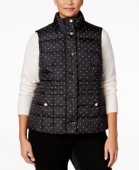 Charter Club Plus Size Dot Print Puffer Vest Only At Macy's Deep Black Combo