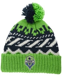 Adidas Seattle Sounders Fc Sweater Pom Knit Hat Lime