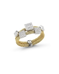Alor Classique 18K Yellow Gold Cable Square Diamond Ring