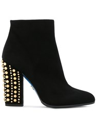 Loriblu Studded Heel Boots Leather Suede Rubber 40.5 Black