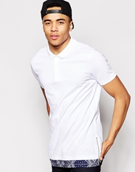 Asos Longline Polo Shirt With Extended Hem And Zips White