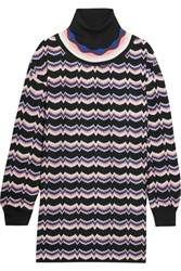 Missoni Wool Blend Crochet Knit Turtleneck Tunic Pink