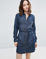 Only Henna Denim Shirt Dress Dark Blue Denim Navy