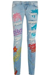 Faith Connexion Painted Distressed Low Rise Skinny Jeans Light Denim