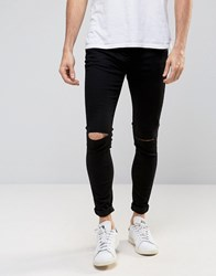 Selected Homme Plus Jeans In Skinny Fit Black Denim With Rip Knee Detail Black W Cut