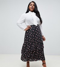 Fashion Union Plus Midi Skirt In Dark Floral Black Floral