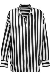 Iro Tamara Striped Cotton Blend Shirt Black