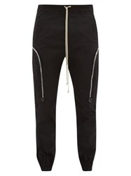 Rick Owens Cotton Blend Twill Cargo Trousers Black