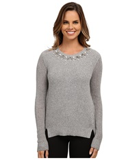 Adrianna Papell Scoop Embellished Neck Sweater Light Heather Women's Sweater Beige