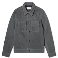 Officine Generale Otto Unlined Suede Jacket Grey