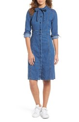Madewell Women's Denim Tie Neck Shirtdress