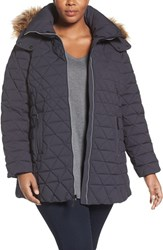 Andrew Marc New York Plus Size Women's Down Jacket With Faux Fur Trim Hood