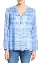 Women's Casual Studio Blouse Blue Digital Wave