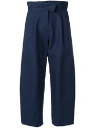 Carven Cropped High Waist Flare Trousers Cotton Viscose Blue
