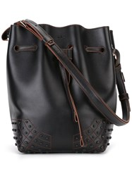 Tod's Drawstring Bucket Shoulder Bag Black