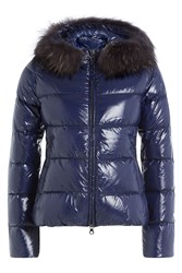 Duvetica Quilted Down Jacket With Fur Trimmed Hood Blue